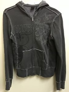 Women's Small Dark Grey Hurley Zip Up Hoodie Floral Embroidered Stitching
