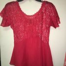 BKE Boutique By Buckle Red Sheer Chiffon Lace Style Short Sleeve Blouse Xs