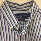 Mens Large Custom Fit Ralph Lauren Button Up Shirt Blue Green Orange Stripe
