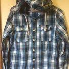 Mens Medium Hollister Button Down Shirt Blue Plaid Hooded Long Sleeve Shirt