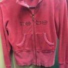 Women's Medium Red Bebe Velore Zip Up Hoodie Jacket Sweater- Rhinestones Bling