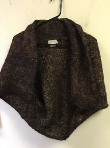 Michael Kors Woven Brown Short Wrap Sweater Size XL Wool 50%
