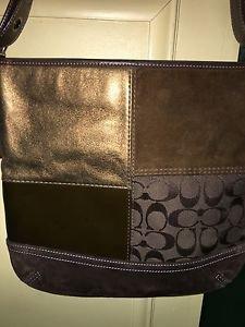 AUTH COACH Brown Signature Patchwork Slim Duffle Crossbody F104021 Handbag