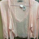 Abercrombie Kids Girls Medium Light Pink Cascade Cardigan Open Sweater Hood  NWT