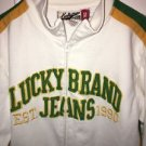 Lucky Brand Jeans Men's Medium White Green Yellow Zip Up Sweatshirt Track Jacket