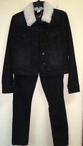 Women's Levi's Black Jean Jacket Outfit Sz 31 Skinny Jeans Black Jean Jacket Fur