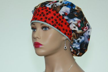 Bouffant Scrub Cap-Handmade-Surgical Scrub Cap-Medical Cap-Women's Hat-100% Cotton.