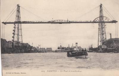 CI07.Vintage Postcard. The Ferry Bridge, Nantes, France.