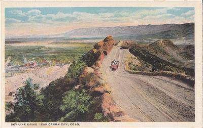 CL94.Vintage US Postcard. Skyline Drive near Canon City, Colorado.