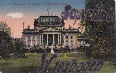 CJ76.Vintage German Postcard.Glittered Souvenir of Wiesbaden. Theatre