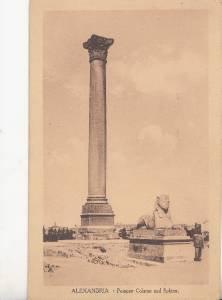 CH81.Vintage Postcard.Pompey Column and Sphinx. Alexandria.Egypt.