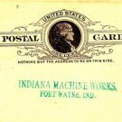 CN41. Vintage Prepaid US Postcard. Indiana Machine Works. Fort Wayne.