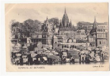 CM97.Vintage Undivided Postcard. Temple at Benares, India.
