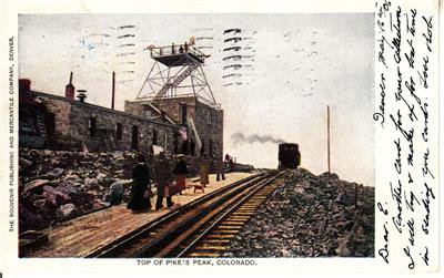 CP13.Vintage Undivided US Postcard. Top of Pike's Peak, Colorado.