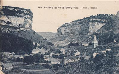 CK74.Vintage French Postcard. General View of Baume les Messieurs. The Jura.