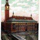CP87.Vintage Glittered Postcard. Raadhuset. City Hall. Copenhagen. Denmark