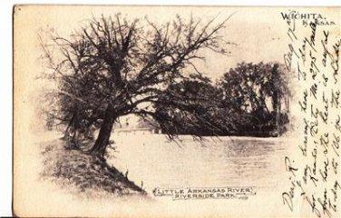 CO25.Vintage US Undivided Postcard.Little Arkansas River.Riverside Park.Wichita