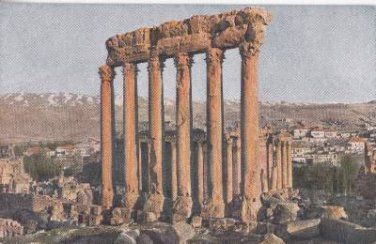 CK06. Vintage Postcard.Six columns of the Temple of Bacchus, Baalbek, Lebanon.