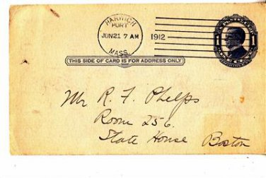 CH45. Vintage US Prepaid Postcard. Addressed to State House, Boston.