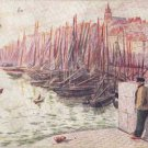 CK02. Vintage Postcard.  Fishing boats. Boulogne sur Mer. By Fred Money