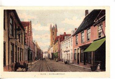CO22.Vintage Postcard. Sluis. Kappelestraat. Netherlands