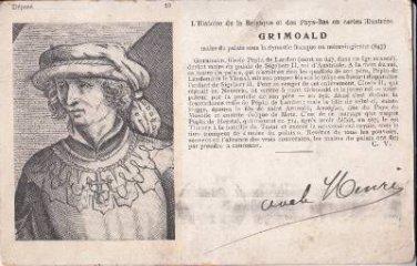 CI02.Vintage French Postcard.Grimoald the Elder.Mayor of the Palace of Austrasia