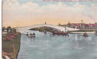 CO39. Vintage Postcard. Minature Railway crossing bridge, Lagoon at Venice. Cal.
