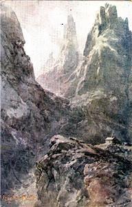 CR04.Antique Postcard. The Hut at Vajolet. Italy. Artist Signed. 6 postmarks.