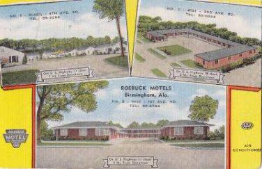 CK31.Vintage US Linen Postcard. Roebuck Motels, Birmingham, Alabama.