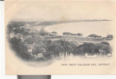 CN11.Vintage Undivided Postcard. View from Malabar Hill, Bombay. India.