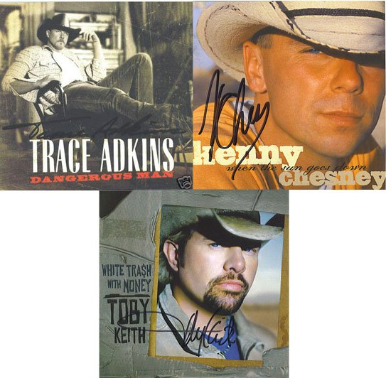 Autographed Toby Keith Kenny Chesney and Trace Adkins CD's