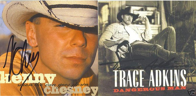 Autographed Kenny Chesney and Trace Adkins CD's Signed Cheap
