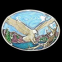 Pewter Belt Buckle - Small Eagle Landing