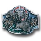 Pewter Belt Buckle - Buffalo Skull