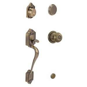 Schlage F93 PAR 609 GEO Parthenon Antique Brass Handleset Georgian Interior Knob