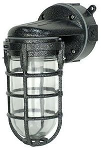 Woods L1707SVBLK Traditional 150W Incandescent Weather Industrial Light, Wall Mo