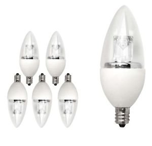 Light Bulb Daylight 6 Pack LED Torpedo Dimmable Candelabra 25 W Equivalent (4W)