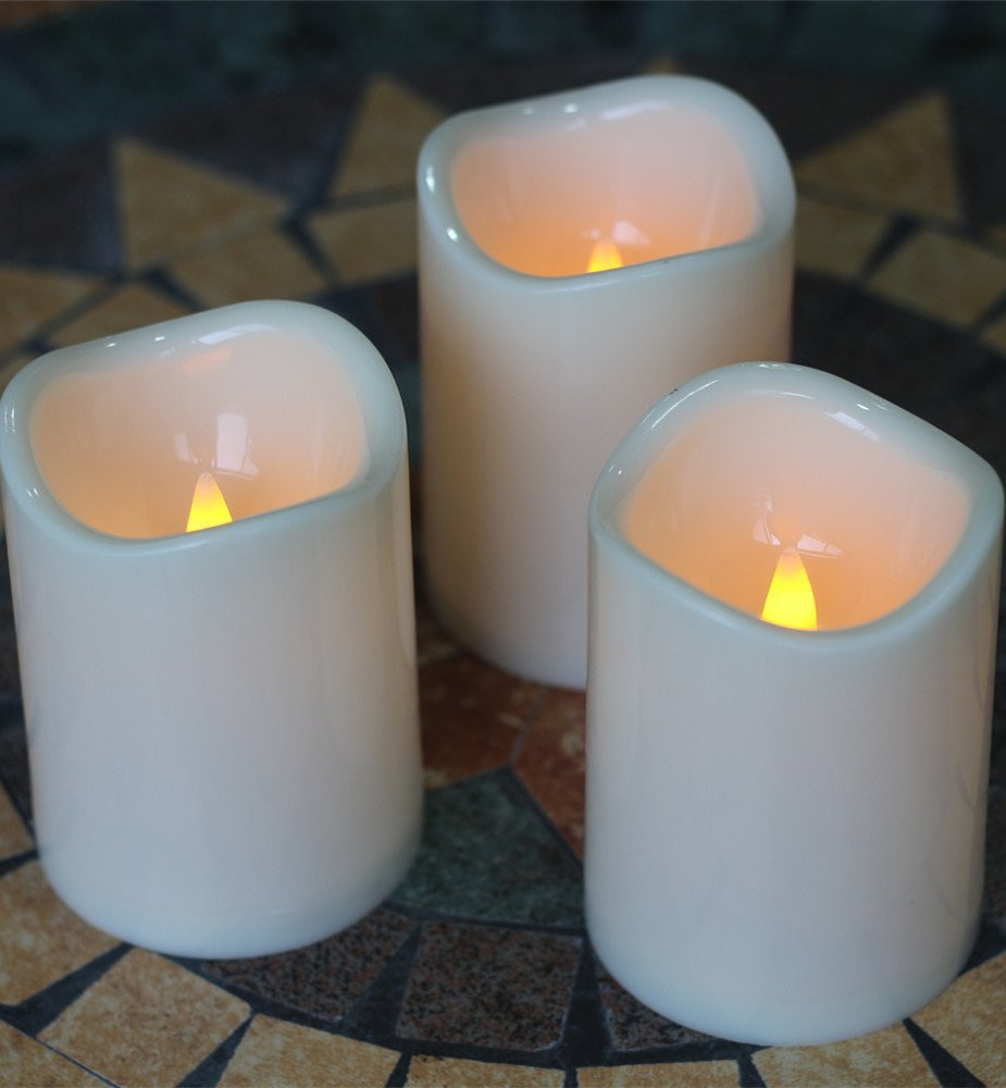 """Waterproof Flameless Battery Operated Plastic Pillar Led Candle Light 3 x 4"""" Set of 3"""