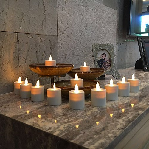 Flameless Tealights Moving Flame Wick LED Tea Light Candles withRemote Control, Set of 12