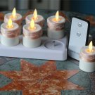 Moving Wick Flameless Tealights Candles with Lace, Remote Control, Timer, Set of 6