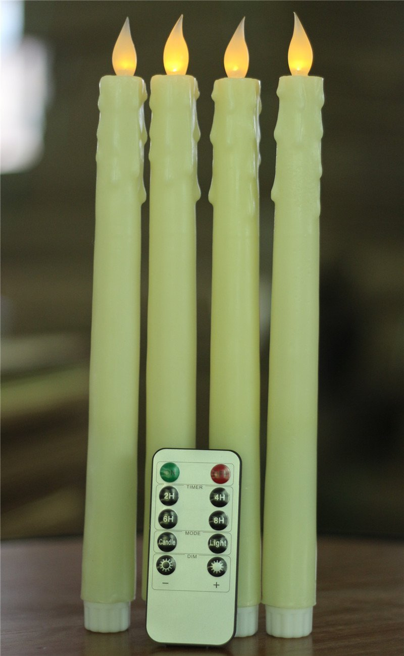 """Remote 4pack Ivory Wax 10"""" LED Flameless Vigil Battery Taper Candles"""