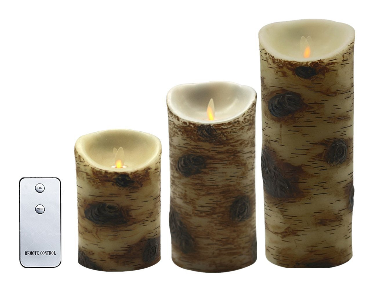 Realistic Dancing Flame Wax LED Flameless Candles Pillar Remote Included - Unscent Birch Candle