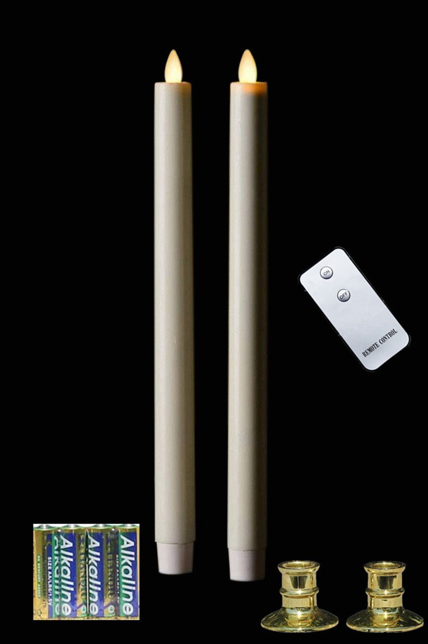 """2 11"""" Moving Wicks LED Flameless Taper Candles With Remote +4 AA Alkaline Batteries"""