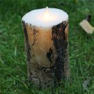 Rustic Tree Branch Candle,Fake Wooden Candle ,Real Wax 5.7 inch LED Flameless Birch Bark Pillar