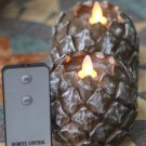 "3.5"" x 2.8"" Pine Cone Shape (Unscented) Battery Operated Realistic Flame LED Wax Candle Light"