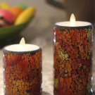 Crack Mosaic Glass Flameless Moving Wick Pillar Led Wax Candle Light with Timer