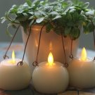 "Dancing Wick Hanging Wax Candle Lanterns with Remote Ivory 2.2"" Flameless Set of 3"