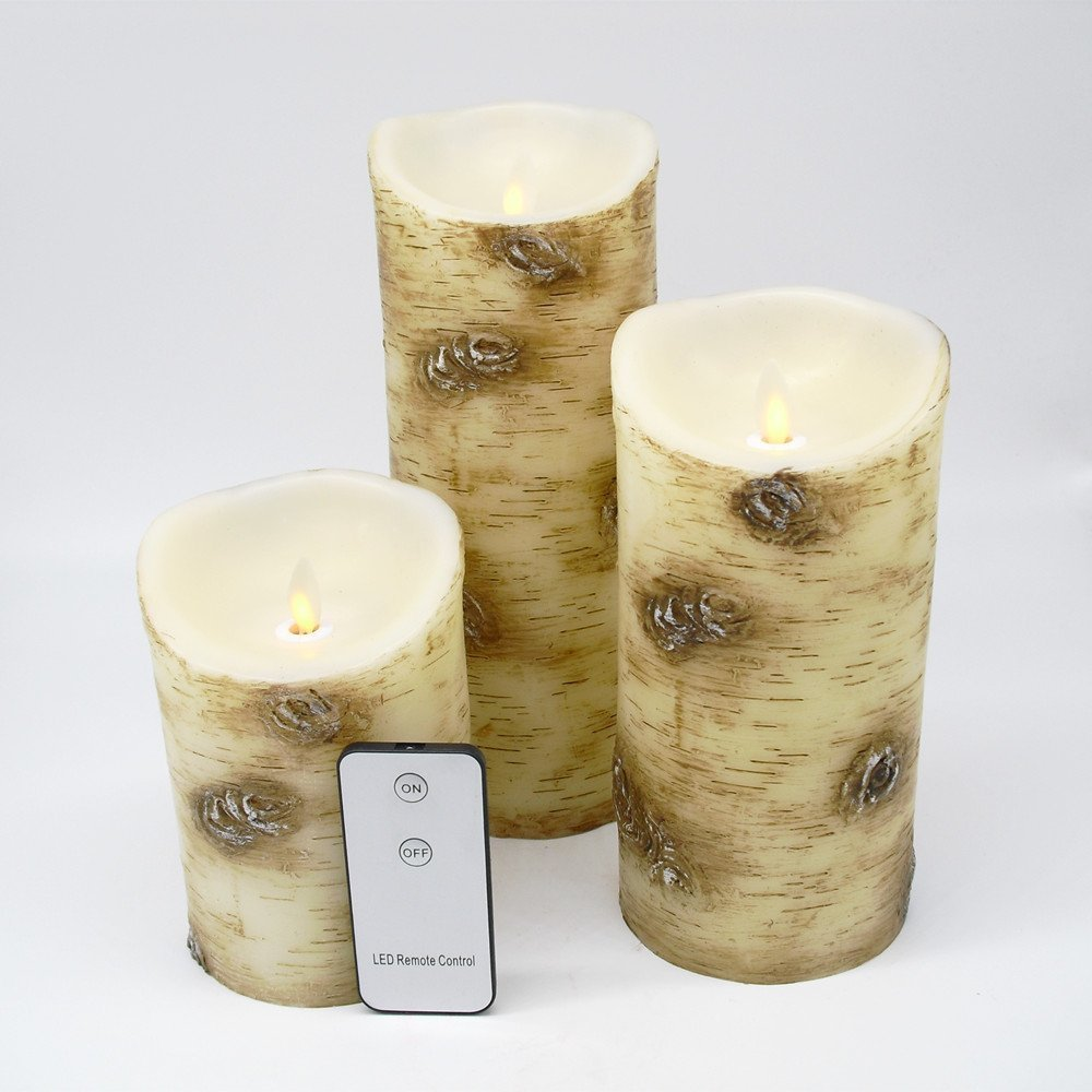 Decorations for Home Flameless Moving Wick Led Candles with Remote Control (3.5*5''&7''&9'')