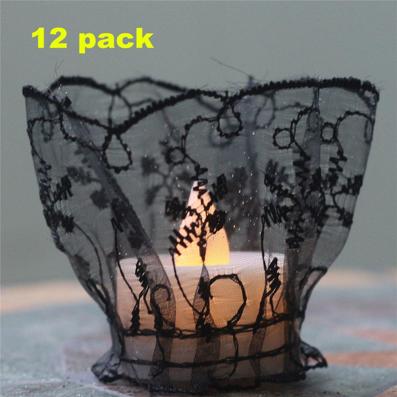 DIY Handmade Embroidery Fake Flameless Tealights 12pack