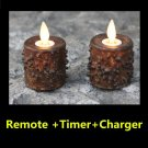 Remote +Timer+Charger Primitive Moving Flameless Tealights Set of 2